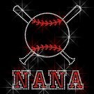 Baseball Bat Nana Crystal Rhinestone Shirt