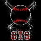 Baseball Bat Sis Crystal Rhinestone Shirt