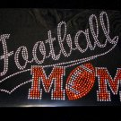 Football Mom with Tail Crystal Rhinestone Shirt