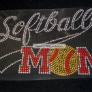 Softball Mom with Tail Crystal Rhinestone Shirt