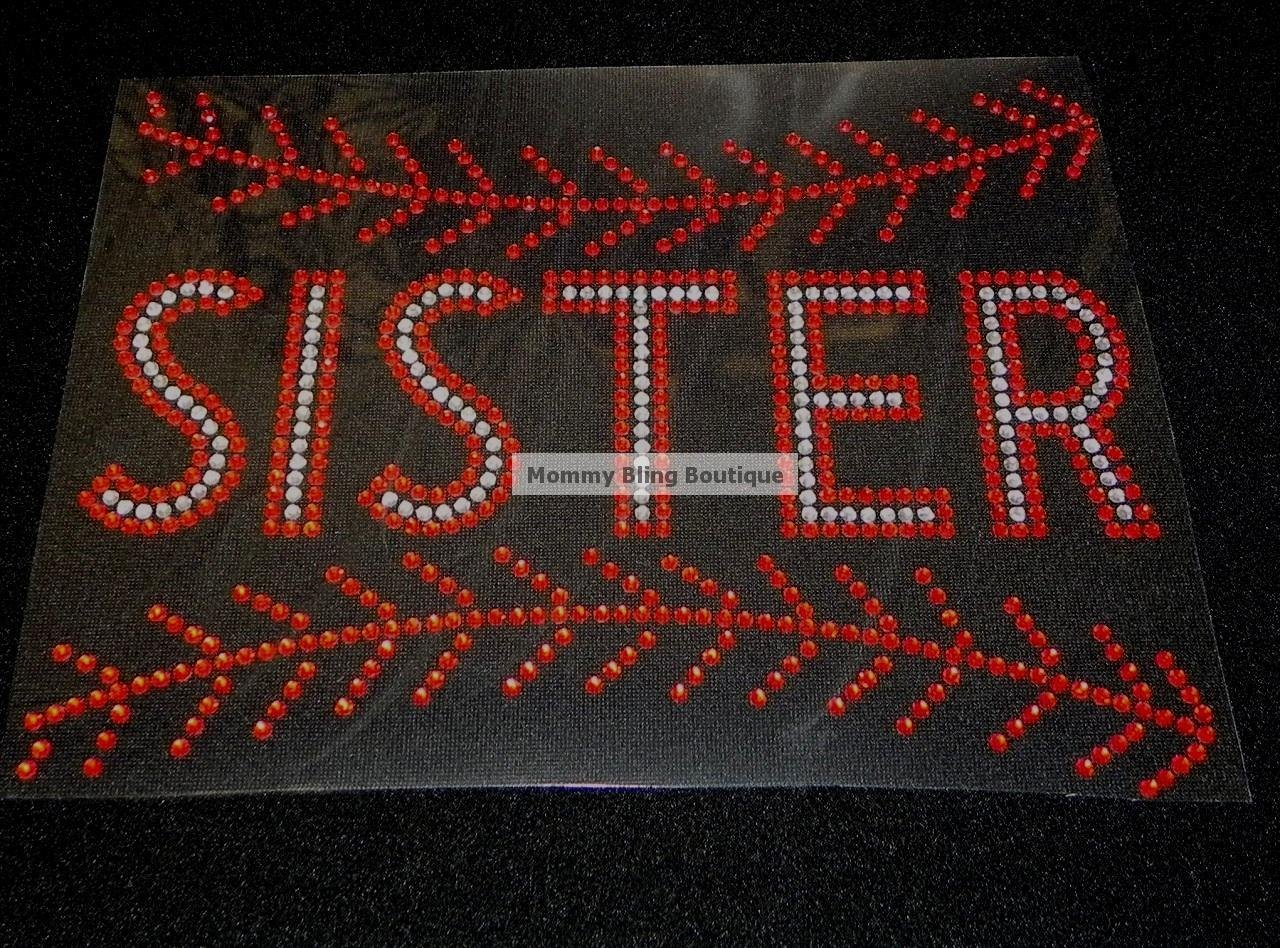 Baseball Sister with Stiching Crystal Rhinestone Shirt
