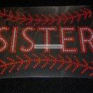 Baseball Sister with Stiching Crystal Rhinestone Shirt