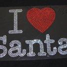 I Heart Santa Christmas Rhinestone Shirt Size S to XXL
