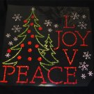 Christmas Tree Peace Joy and Love Rhinestone Shirt Size S to XXL