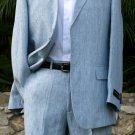 New Rizzoli Mens Suit - 100% Irish Linen - Blue Chalk Stripe - Available in all sizes