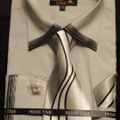 New Prime Time French Cuff Shirt, Tie, Hanky SET - Light Gray with Silver Accents- 16.5 - 34/35