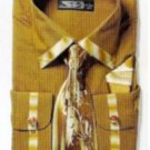 New Generation French Cuff Dress Shirt, Tie, Hanky Set - Bronze 19 to 19.5 - 36/37