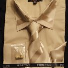New Prime Time French Cuff Dress Shirt, Tie, Hanky SET - Beige 16.5-34/35