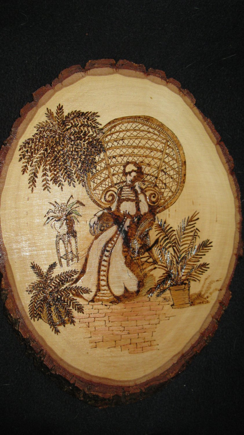 Lady in Wicker Chair Pyrography - Wood-Burning