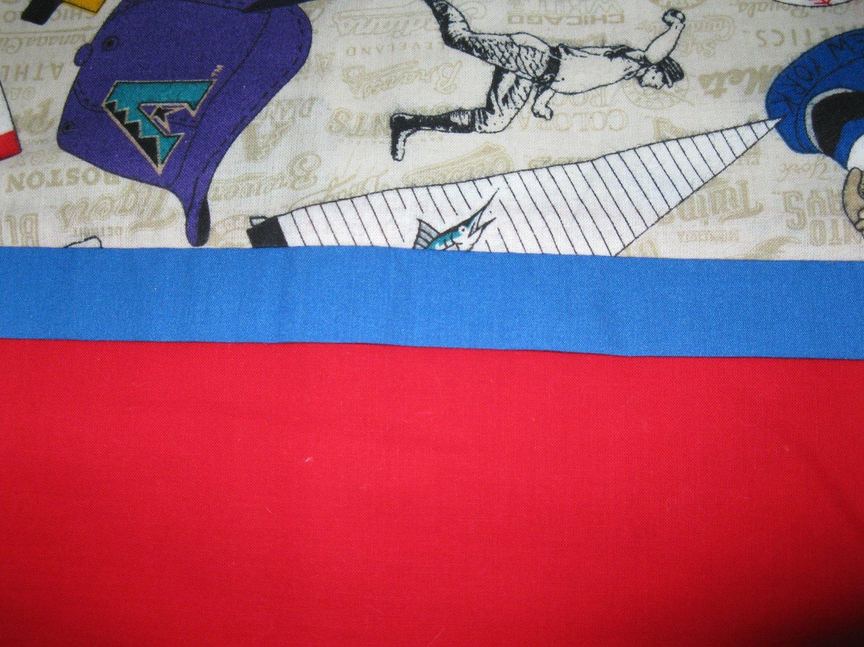 Set of 2 Baseball Flannel Fabric Standard Pillow Case -Handmade