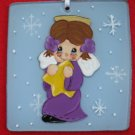 Little Purple Angel Handcrafted  Glass Christmas Ornament