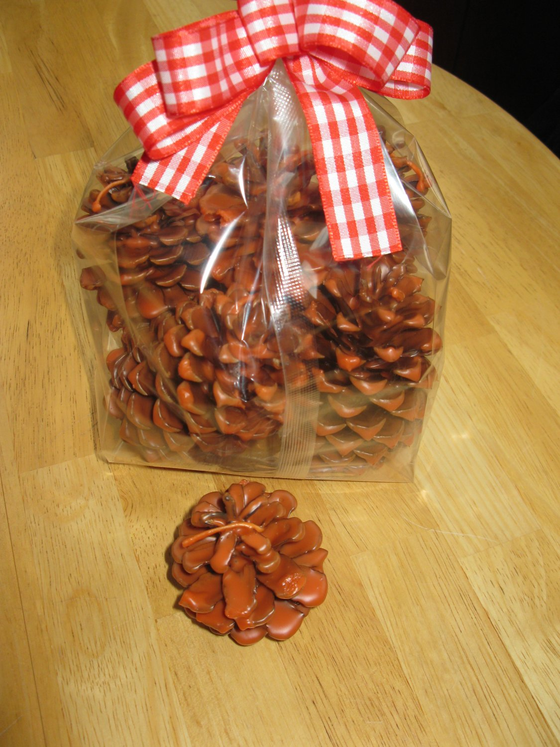 8 Hand Dipped Pine Cone Fire Starters Pumpkin Spice Scent
