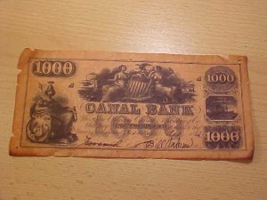Canal Bank $1000  note Aug 1862  Fine
