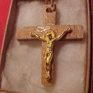 "Golden  on Wood Cross 1.5"" in box with chain"