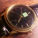 Black watch quartz mov't New with new  battery and Leather band