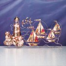 Lighthouse and Boat Metal Sculpture #32161