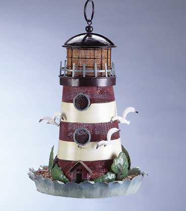 Painted Metal Lighthouse Birdfeeder #33808