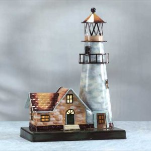 Painted Metal Lighthouse Light #33869