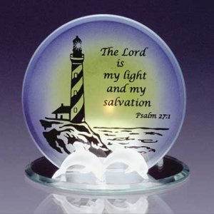 Glass Psalm 27 Verse 1 Candleholder  #34125