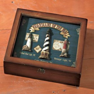 Wood Lighthouse Motif Shadowbox #35128