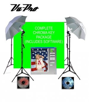 Vu-Pro Basic Chroma Key Home Photography Studio Package. Includes: Muslin Chromakey Backdrop, Photo