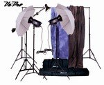 Vu-Pro Complete Home Photography Studio Package #4 with Lighting, Stands and Backdrops