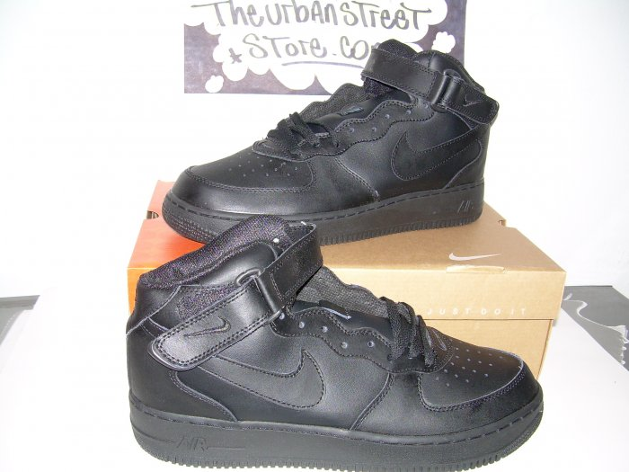 NIKE AIR FORCE ONE ALL BLACK HIGH TOPS MENS SIZE 7.5