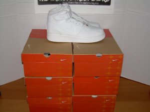 WHOLESALE SAMPLE LOT 6 PAIRS AF1 WHITE HIGH TOPS