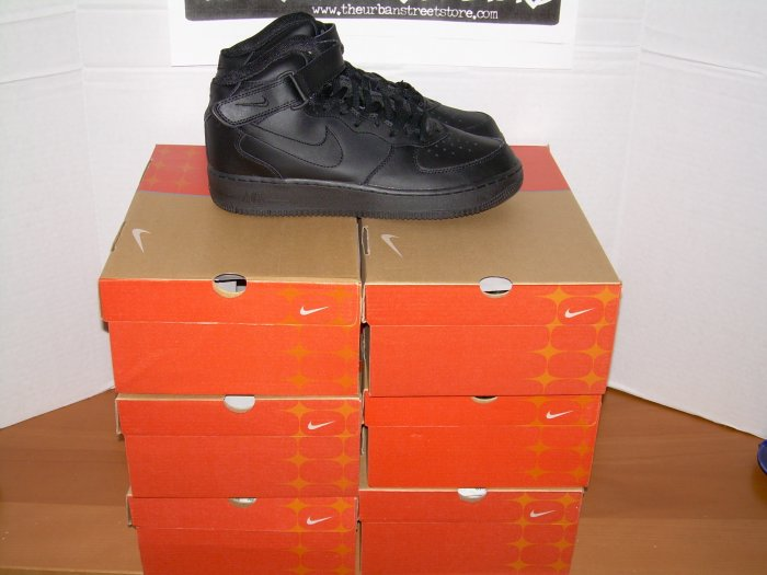 WHOLESALE SAMPLE LOT 6 PAIRS AF1 BLACK HIGH TOPS