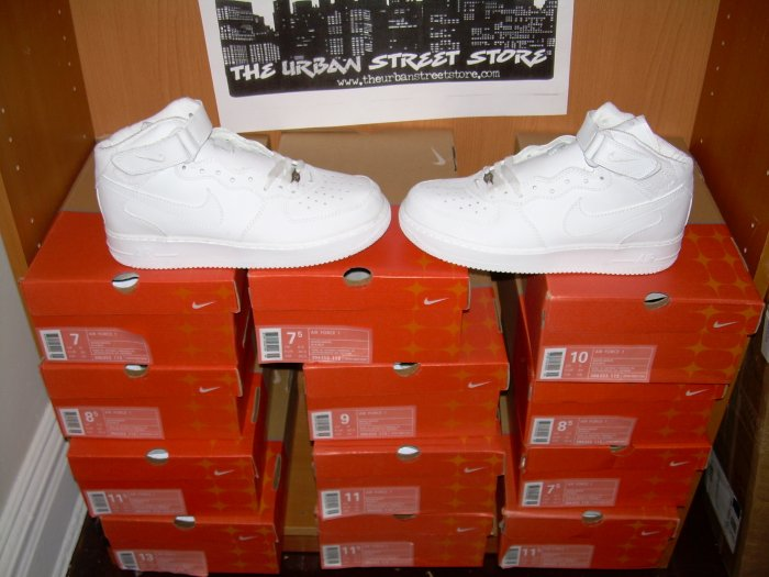 WHOLESALE LOT OF 12 PAIRS AF1 ALL WHITE HIGH TOPS