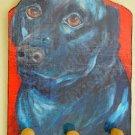 Black labrador RETRIVER Black lab dog Leash Key holder handmade wood  rack holder