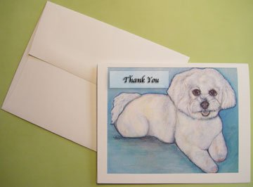 Bichon Frise portrait - Personalized Notecards
