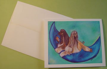Afghan Dogs on Moon portrait - Personalized Notecards