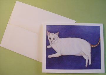 "White Cat ""Kiki"" blue-eyed white cat - kitty portrait - Personalized Notecards"