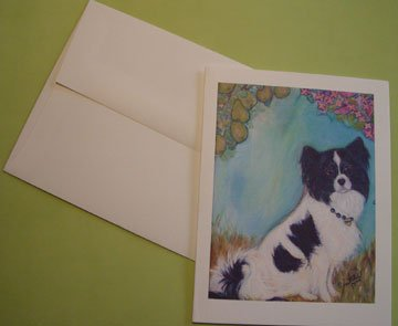 Papillon painting portrait - Personalized Notecards