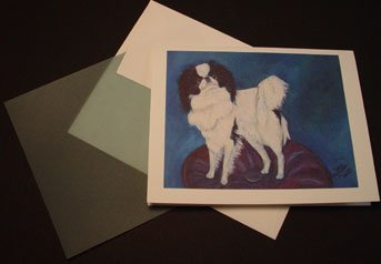 Japanese Chin Dog portrait - Personalized Notecards