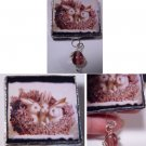 Trio Bunnies & Wisteria bouquet handmade nostalgia Glass Brooch Pin