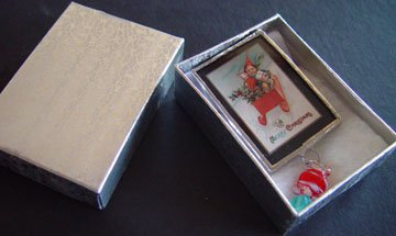 Christmas boy on Sleight with presents handmade nostalgia-vintage Glass Brooch Pin