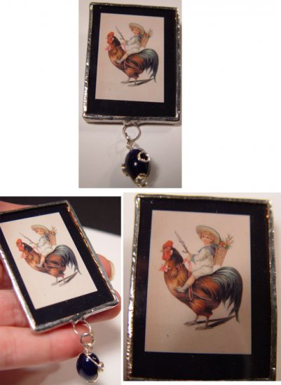 Little boy on Rooster surreal whimsical handmade nostalgia Glass Brooch Pin