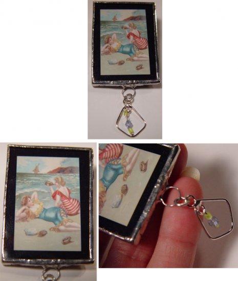 Handmacrafted Sun bathing Divas nostalgia handmade Glass Brooch Pin