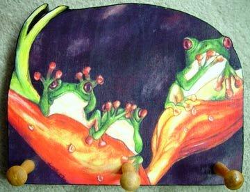 Frogs - red eyed frog trio leash holder - handmade rack key holder