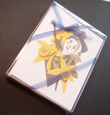 Harlequin clown & Vanilla flower- set of 8 note-cards handmade notecards from artist Ines Miller