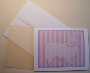 Shetland Sheepdog- Sheltie dog silhouette - Personalized Notecards * Mauve & Pink stripes