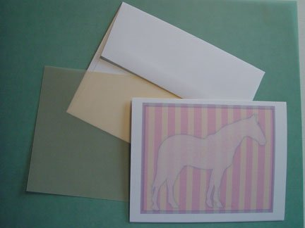 Horse silhouette portrait - Personalized Notecards  pretty Pink & yellow stripes note cards