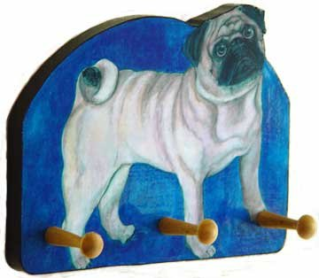PUG Dog  fawn pugsly doggy wood leash key rack peg dog leash  holder