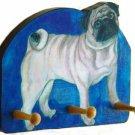PUG Dog  fawn pugsly doggy wood leash key rack peg dog leash  holder