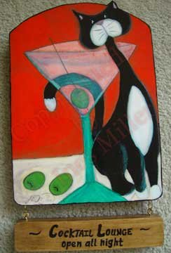 MARTINI COCKTAIL AND TUXEDO CAT Coctail Lounge wood sign kitty