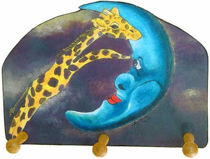Giraffe jumping Over Moon leash key rack holder whimsical art
