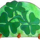 Irish Shamrocks  Clover three leaves lucky shamrock key holder peg rack handmade wood  holder