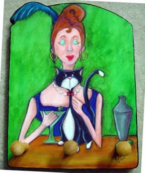 Red headed lady Tuxedo cat martini cocktail drink  leash key rack holder surreal art